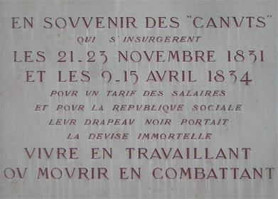 Nouvelle agitation des Canuts à Lyon (1834) Canuts_plaque