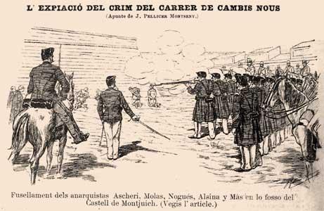 dibujo pulsar las ejecuciones de los anarquistas en Barcelona