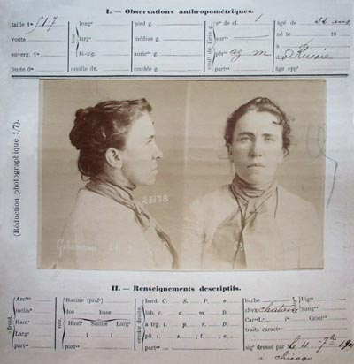 fiche anthropométrique d'Emma Goldman