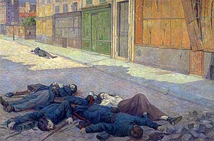 Una calle de París en 1871 tabla Maximilien Luce