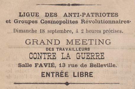 El anuncio de la reunión antipatriótico en 1887