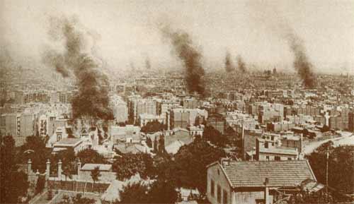 vision de barcelone incendiée