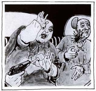 ataque contra cardianal Soldevilla (dibujo)