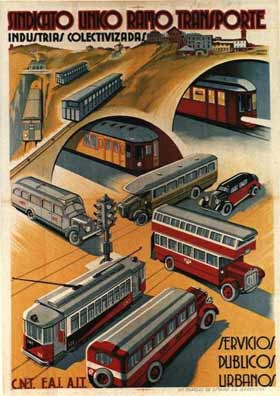 affiche de la collectivisation des transports