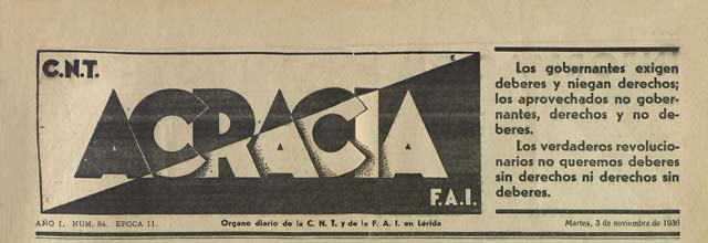 "journal""Acracia"" de 1936"