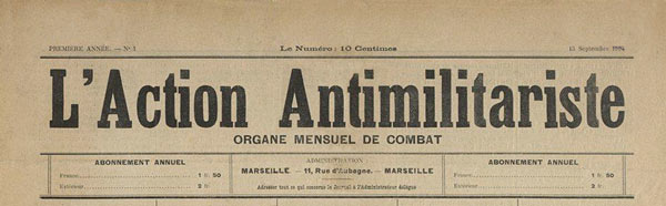 "journal ""L'Action Antimilitariste"" n1"