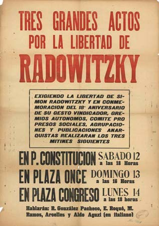 Affiche meeting pour Radowitzky