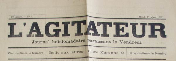 "journal ""L'Agitateur"" n1"