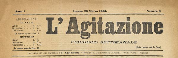"journal ""L'Agitazione"" n°3 de 1900"