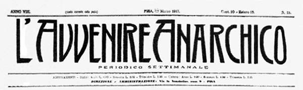 "journal ""L'Avvenire Anarchico "" de 1917"