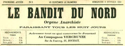 Le Bandit du Nord, masthead, February 1890