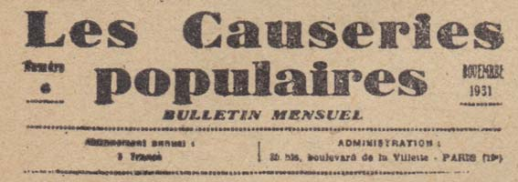 Bulletin des Causeries populaires