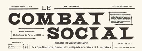 Le Combat Social masthead, courtesy Eph�m�ride Anarchiste
