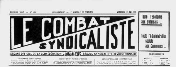 "journal ""Le Combat syndicaliste"" mai 1935"