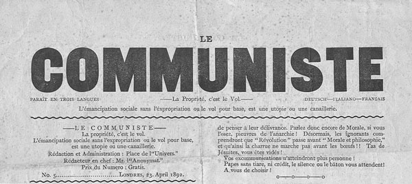 "journal ""Le Communiste"" de Londres"