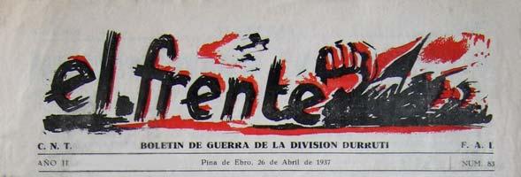 """periódico """"El Frente"""" 1937"""