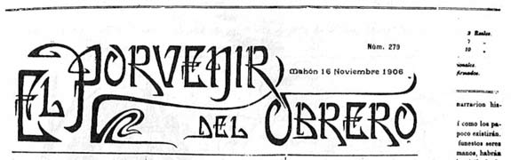 "journal ""El Porvenir del Obrero"" de 1906"