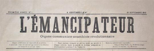 "Periódico belga en 1910, ""El Libertador"""
