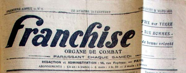 "journal "" Franchise "" n°1"
