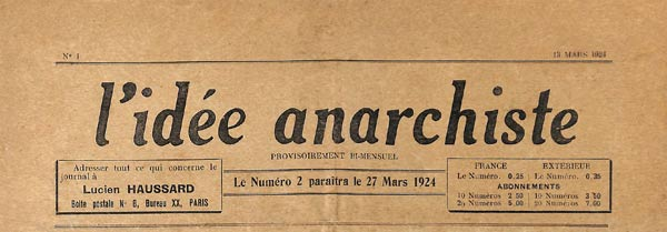 "journal ""L'Idée Anarchiste "" n1"