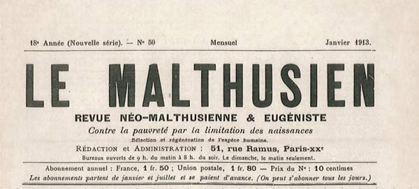 "journal ""Le Malthusien"" n° 50"