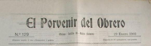 "diario ""El Porvenir del Obrero"" 1903"