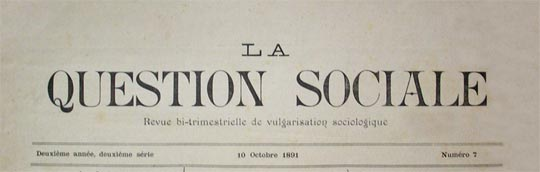 "journal ""La Question sociale"" de 1891"