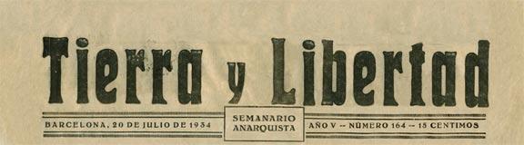 periódico Tierra y Libertad 1934