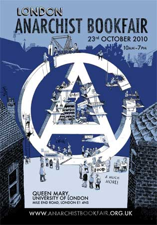 "poster pour ""Anarchist bookfair"" de Londres 23 octobre 2010"