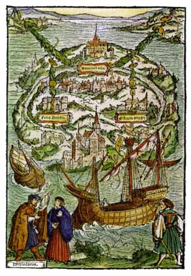 Le plan de l'île d'Utopia imaginé par Thomas More