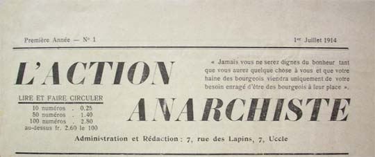 "journal belge ""L'Action anarchiste"" de 1914"