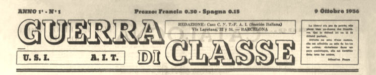 "journal ""Guerra di classe"""